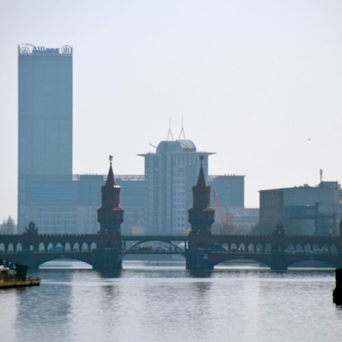 View on the spree and Oberbaum Bridge Berlin